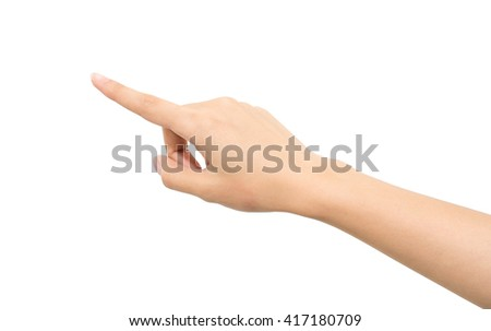Woman hand isolated on white background , point