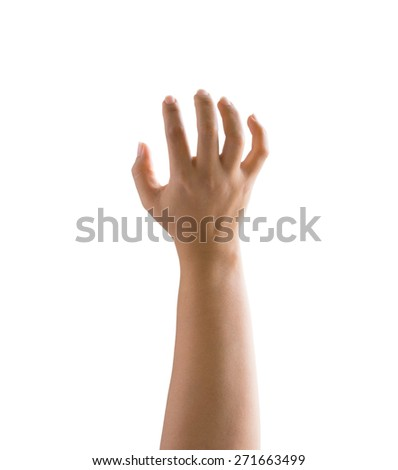 Woman hand isolated on white gesturing grabbing or reaching - stock photo