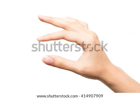 Woman hand keeping something isolated on white background