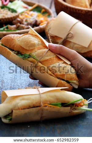 Woman Hand Make Banh Mi Thit Or Vietnamese Bread Famous Street Food From Raw Material