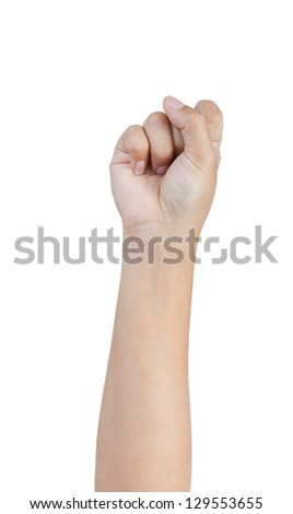 Woman hand making fist isolated