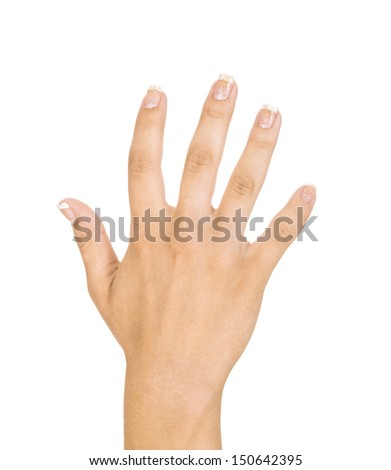 "Woman hand making sign ""five"". Isolated on white background - stock photo"