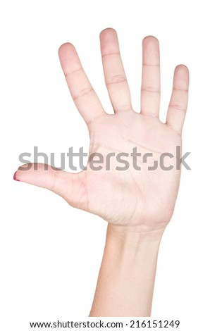 Woman hand making sign five. Isolated on white background - stock photo