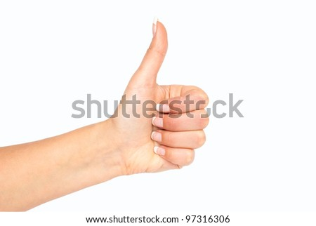 Woman hand making sign GOOD. Isolated on white background - stock photo