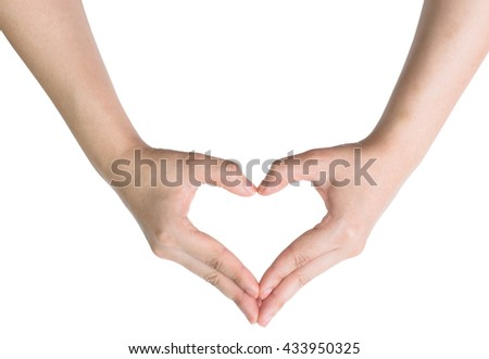 Woman hand making sign Heart isolated on white