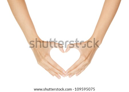 Woman hand making sign Heart isolated on white background - stock photo