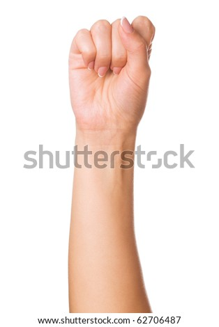 Woman hand making sign. Isolated on white background - stock photo
