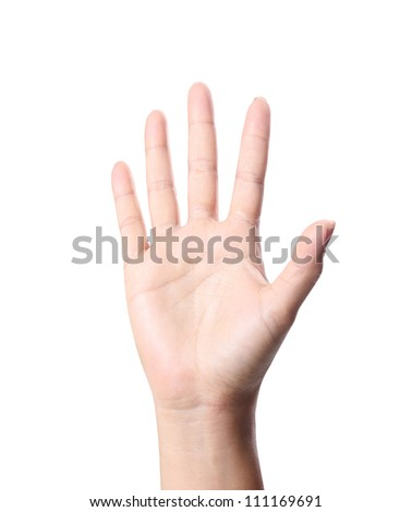 Woman hand making sign on white background