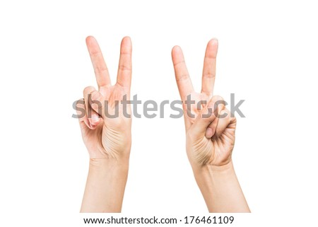 Woman hand making sign.  on white background - stock photo