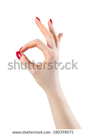 Woman hand ok sign. Isolated on white. - stock photo