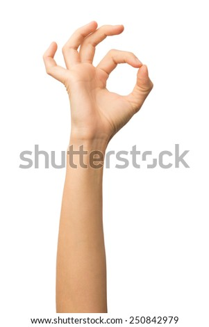 Woman hand OK sign isolated on white background. Alpha. - stock photo