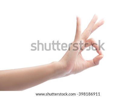 Woman Hand OK sign, Isolated on white with clipping path included - stock photo