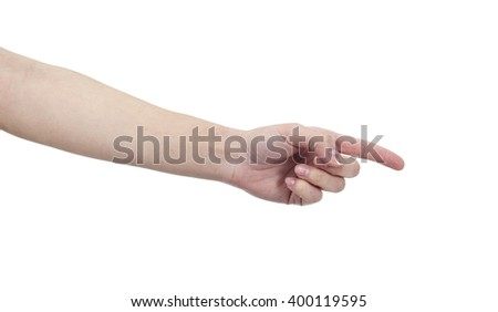 Woman hand on isolated background - stock photo