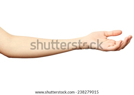 Woman hand on Isolated white background. Alpha. Outstretched hand. Hand requests alms - stock photo
