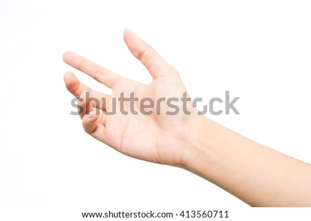 Woman hand on the isolated background