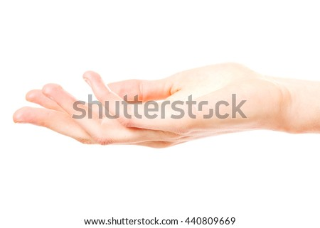 Woman hand on white background.