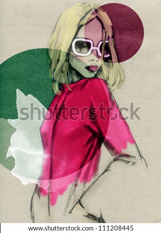 Woman .Hand painted fashion illustration - stock photo