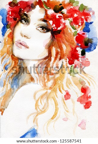 Woman. Hand painted fashion illustration - stock photo
