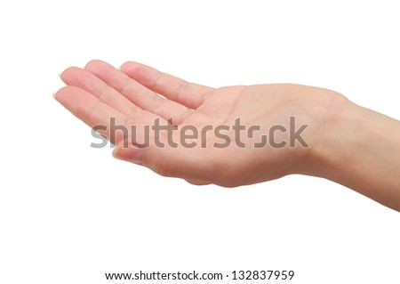 Woman hand palm holding or giving something. Closeup isolated on white background - stock photo