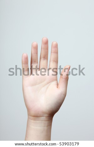 Woman hand (palm) isolated on a light background - stock photo