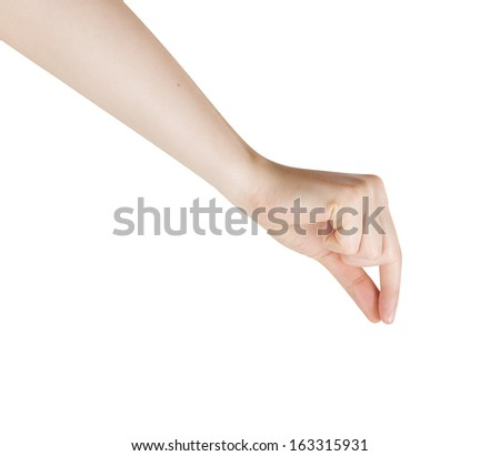 Woman Hand Pick Up isolated on White Background - stock photo