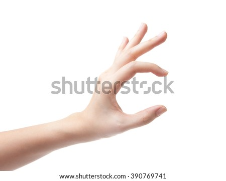 woman hand pick up object isolated on white background - stock photo