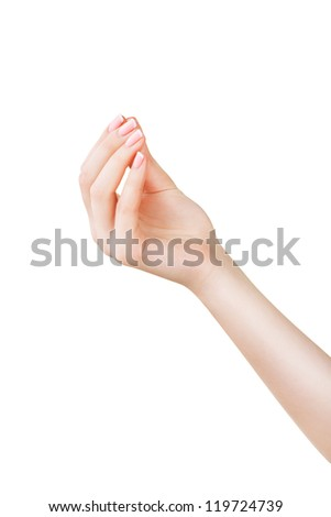 Woman hand picking isolated on white background - stock photo