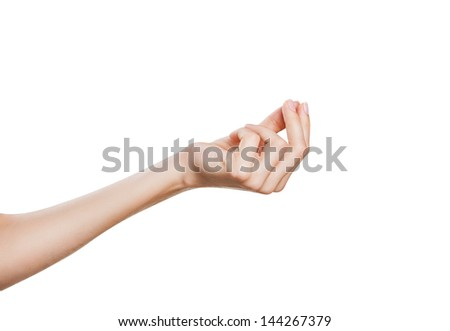 Woman hand picking isolated on white background