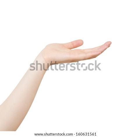 Woman Hand Point Up isolated on White Background