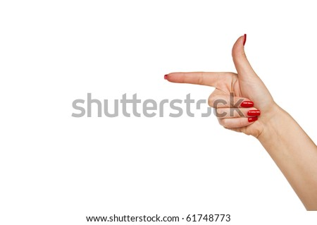 Woman hand pointing direction isolated on white background - stock photo