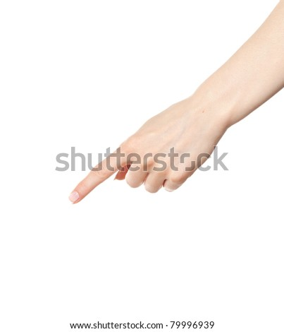 Woman hand pointing down with index finger
