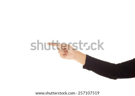 Woman hand pointing isolated on white background. - stock photo