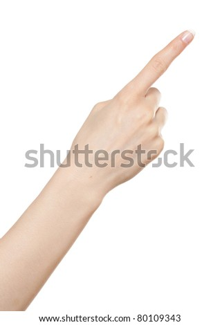 Woman hand pointing up with index finger or pressing button - stock photo