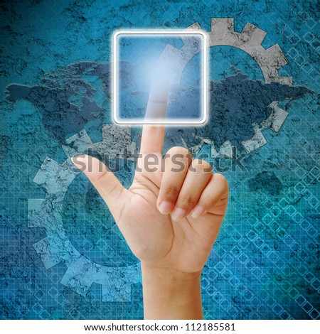 Woman hand press on blank icon,business background blue color - stock photo