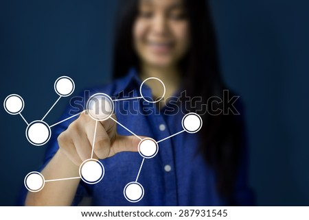 woman hand pressing circle media icon,smiling
