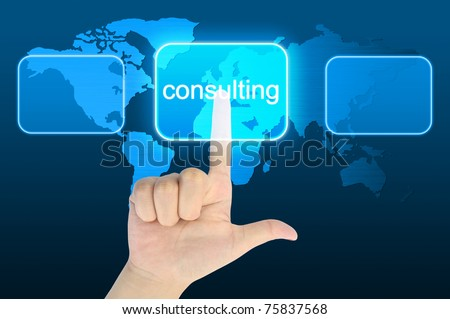 woman hand pressing consulting button on a touch screen interface - stock photo