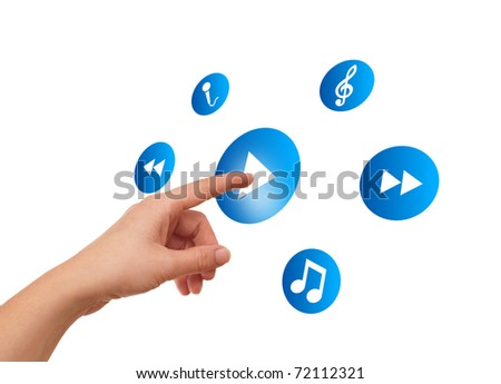 woman hand pressing media player button - stock photo