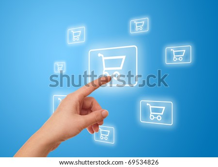 woman hand pressing shopping cart icon