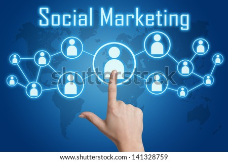 woman hand pressing social marketing icon on blue background with world map - stock photo