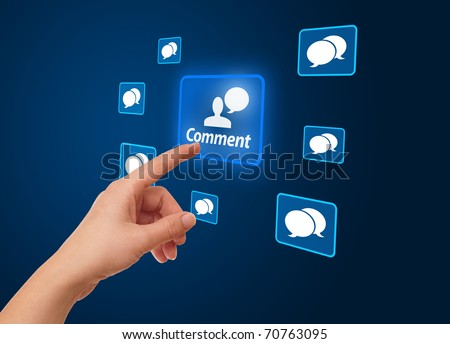 woman hand pressing Social Network icon - stock photo