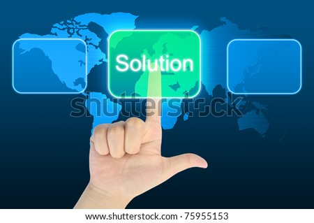 woman hand pressing solution button on a touch screen interface - stock photo