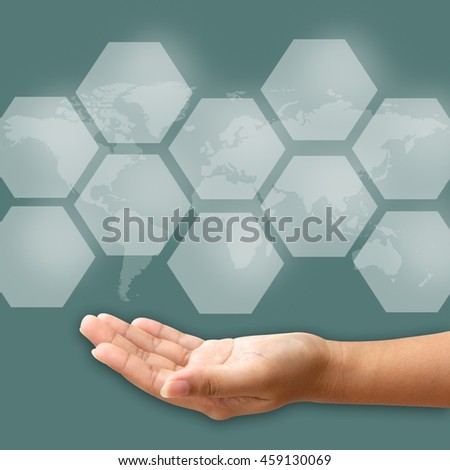 Woman hand pushing blank icon on touch screen interface - stock photo