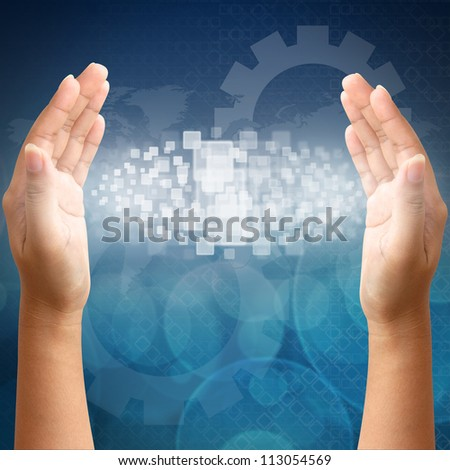 Woman hand pushing in touch screen interface - stock photo