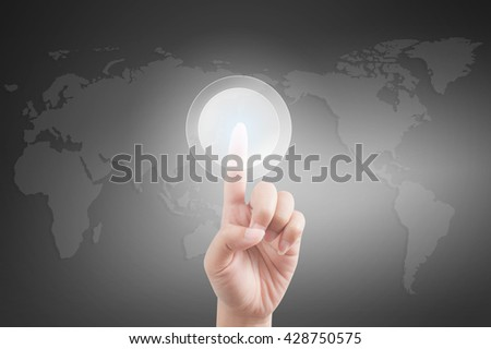 Woman Hand pushing on touch screen interface - stock photo