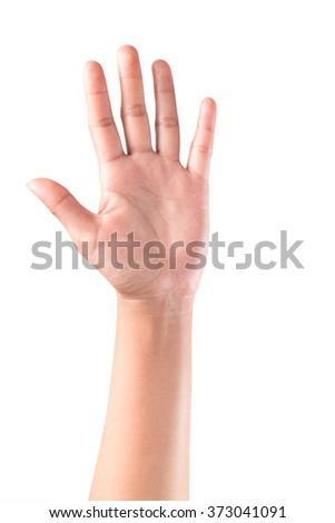 Woman hand raised up - stock photo