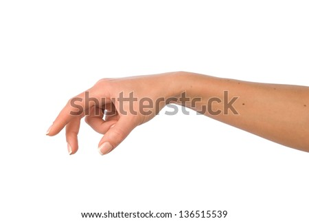 Woman hand reaching for something. - stock photo