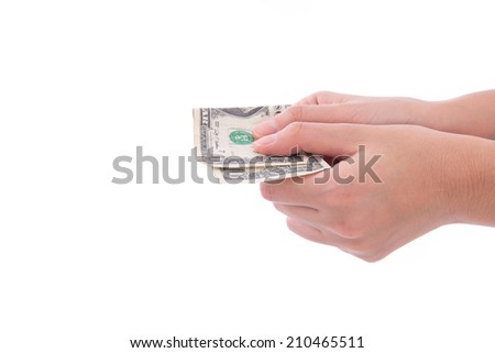 woman hand secretly giving money on white background