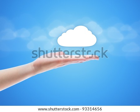 Woman hand share the cloud against blue background with clouds. Concept image on cloud computing theme with copy space. - stock photo