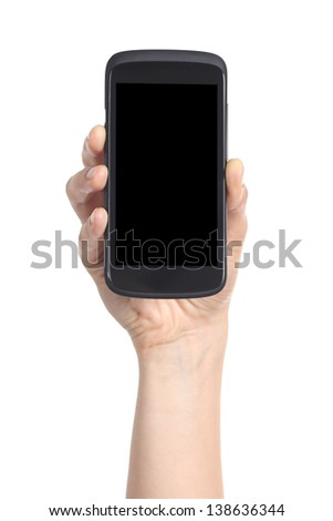 Woman hand showing a black mobile phone screen isolated on a white background