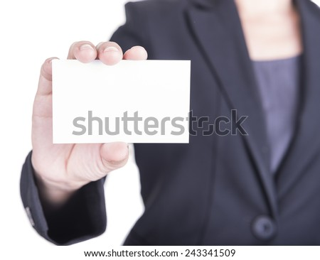 Woman hand showing business card on a white background.